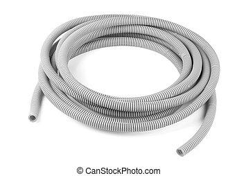 Corrugated tube - Gray plastic corrugated tube isolated on...