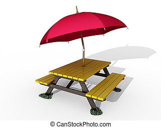 Picnic Table on a white background.