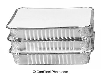 Stack of foil take away lunch box fast food containers -...