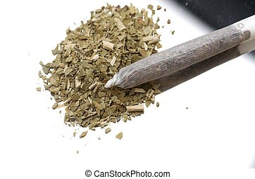 marijuana - closeup of a cigarette from hand-rolled...