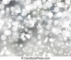 Silver Christmas lights Background - Christmas background of...