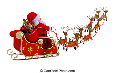 santa with sleigh - santa and his 8 reindeer with sleigh