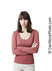 Beautiful woman looking sad. Studio shot isolated on white...
