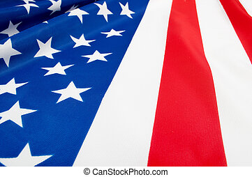 USA Flag - Closeup of Glossy Flag of United States of...