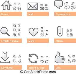 Universal software icon set. Web part - Universal web icon...