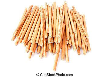 Crispy straw - A lot of crackling straw on a white...