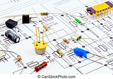 electronic components ready for assembly according to the scheme