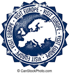 Visit Europe Stamp - A distressed style tourism stamp.