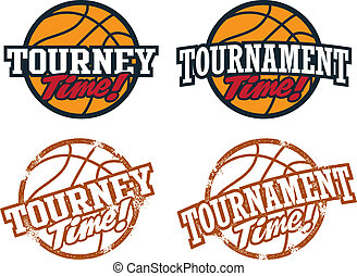 Basketball Tournament Graphics - Clean and distressed stamp...