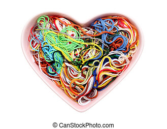 Entangled threads and heart-shape saucer