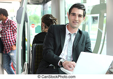 Man working on the bus