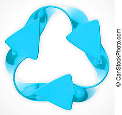 Environmental sustainability: blue recycling sign isolated...