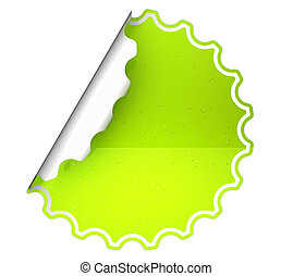 Lettuce Green round bent sticker or label over white...