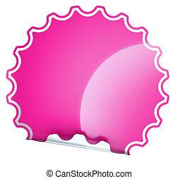 Magenta round bent sticker or label over white background