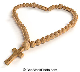 religious life and love: wooden chaplet or rosary beads over...