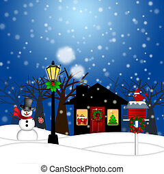 House with Lamp Post Snowman and Birdhouse Christmas...