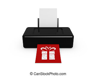 black printer print gift image on white background