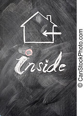 Inside use sign drawn on a blackboard