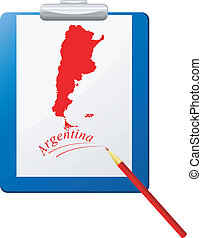Vector illustration of the clipboard with a map of Argentina