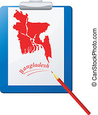 Vector illustration of the clipboard with a map of Bangladesh