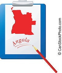 Vector illustration of the clipboard with a map of Angola