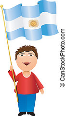 Vector illustration of a boy with the flag of Argentina