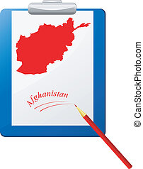 Vector illustration of the clipboard with a map of Afghanistan