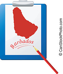 Vector illustration of the clipboard with a map of Barbados