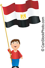 Vector illustration of a boy with the flag of Egypt