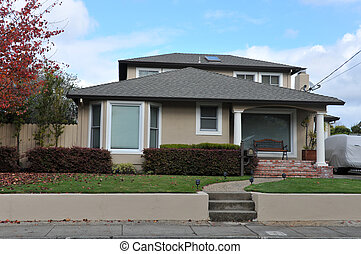 Single family house one story with walkway - Single family...