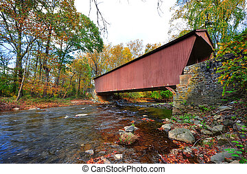 Jericho Covered Bridge in Maryland during Autumn - The...