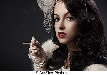 Retro Woman Portrait on dark background