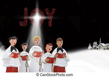 Christmas carolers in snow at night.