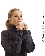A sneezing woman isolated on white background