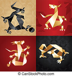 Set Dragon Origami, folded paper, vector design