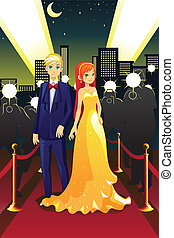 Celebrities on the red carpet - A vector illustration of a...