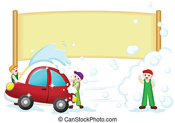 Car wash banner - A vector illustration of a car wash banner