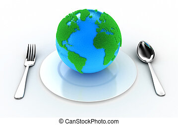Earth on a plate - Illustration of the Earth on a plate with...