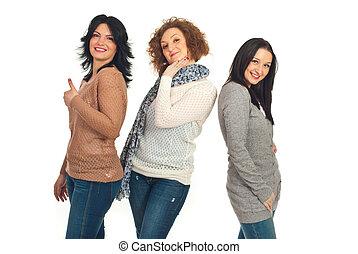feliz, amigos, tres, mujeres
