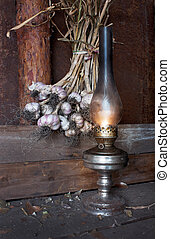 kerosene lamp in the interior of the barn