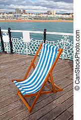 Deck chair pier sea coastline - deck chair on Brighton pier...