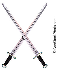 Crossed Viking Long Swords - Isolated illustration of two...