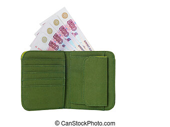 Wallet with Money - Open wallet with banknotes isolated on a...