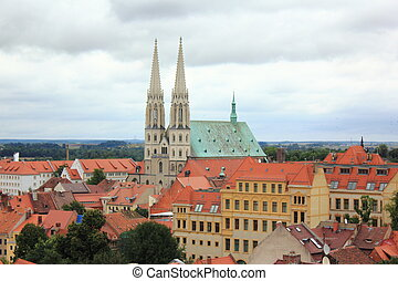 Church in Goerlitz - Panorama of city Goerlitz with St...