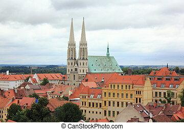 Church in Goerlitz - Panorama of city Goerlitz with St....