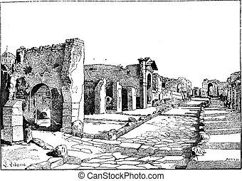 Pompei, way of the tombs, vintage engraving. - Pompei, way...