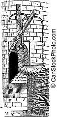 Drawbridge, vintage engraving.