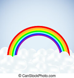 vector clouds with a rainbow on blue Abstract background...