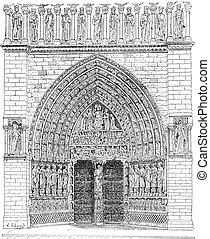 The front gate in the middle of Notre Dame Cathedral vintage engraving