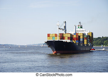 Cargo ship - Container transport with a cargo ship
